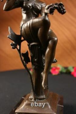 100% Bronze Signed Lady Woman Sitting On Chair Bird 10 Sculpture Marble Base