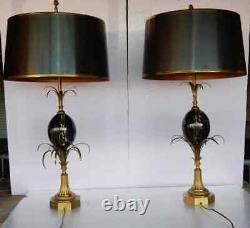 1950/70 Pair Of Lamps In Bronze And Egg In Marble Portor Signed Charles