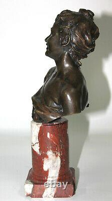 19th-century Bust In Bronze Rieuse Signed Follot On Marble Base