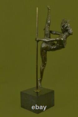 20 Bronze Signage Statue Gymnast Art Deco Nude Sculpture On Marble Figurine