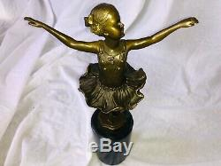 20th Century Bronze Sculpture Dance Ballerina Girl Young Marble Base Signed