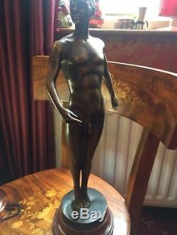 20th Century Vintage Flesh Male Bronze Sculpture Marble Base After Auguste Moreau