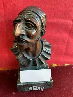 A496 Tete De Sculpture Bronze Base Marble Pulcinella
