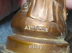 Albert Roze's Virgin In Golden Bronze 28cm Base Green Marble, A Broken Arm