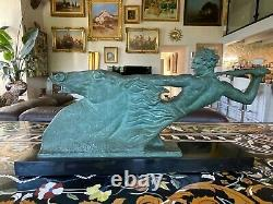 Alberto Bazzoni (1889-1973)important Bronze With Nuanced Green Patina On Marble No.