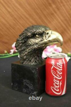 American Bald Patriotic Flying Eagle Signed Artistic Bronze Marble Statue