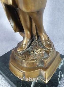 Ancient Bronze Statue On Arabic Black Marble Base