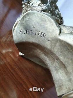 Ancient Bust Gilt Bronze Sign August Peiffer / Boyer