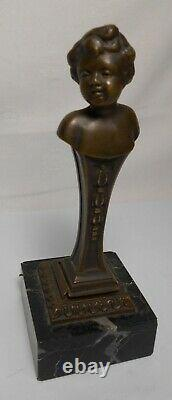 Ancient Seal Cachet Statue Young Bronze Woman Signee Roland With Marble Base
