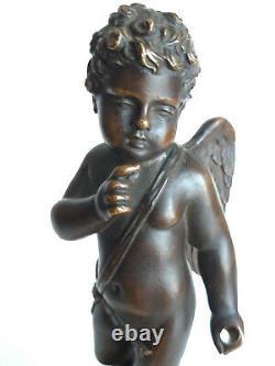Angelot En Bronze Sur Socle En Marbre, Napoleon Iii, Beautiful Finesse, Unsigned