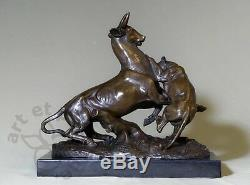 Animal Art, Sculpture By Edouard. Delabrierre, Bronze And Marble
