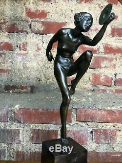 Art Deco Bronze Dancer Cymbals Signed Lucien Alliot Marble Pedestal