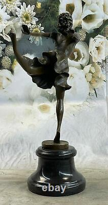 Art Deco Bronze Dancer, Signed Degas Work On Marble Base Sculpture Work