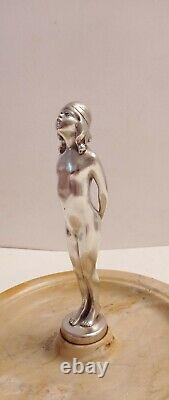 Art Deco Bronze Silver Marble Signed Philippe