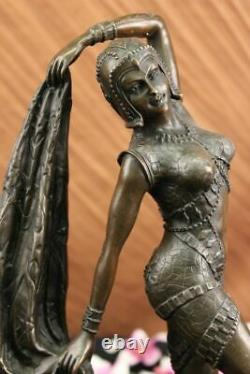 Art Deco Bronze Woman Signed Chiparus Museum Quality On Marble Base Figure Nr