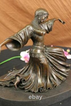 Art Deco Bronze Woman Signed Chiparus Museum Quality On Marble Base Figurine