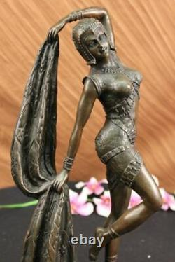 Art Deco Bronze Woman Signed Chiparus Museum Quality On Marble Figure Base Lrg
