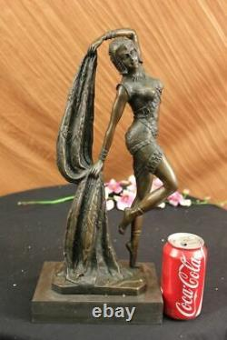 Art Deco Bronze Woman Signed Chiparus Museum Quality On Marble Figurine Base Lrg