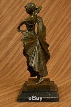 Art Deco Fans Dancer Dancer Signed Bronze Marble Art Sculpture
