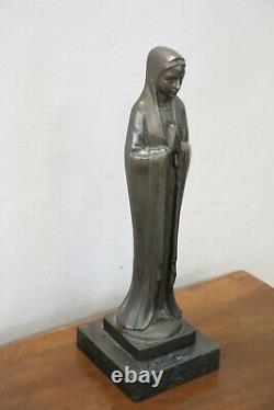 Art Deco Period Bronze Sculpture On Virgin Mary Marble Base
