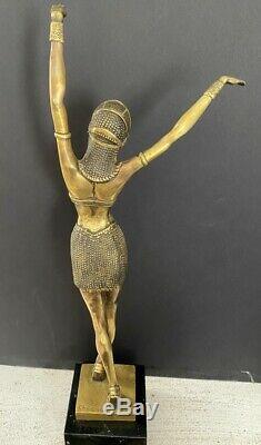 Art Deco Signed Bronzesfigur -tänzerin Chiparus On Marble Base -nachguss