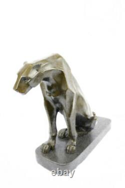 Art Deco Statue Bronze Panther Montage On A Black Marble Base Signed H. Moore