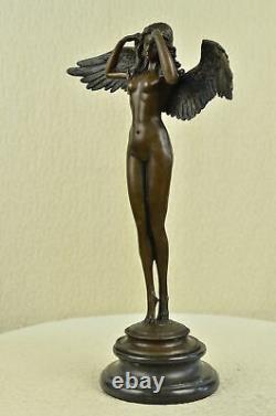 Artisanal Bronze Sculpture Marble Balance Weinman By Signed Angel Woman Chair Decor