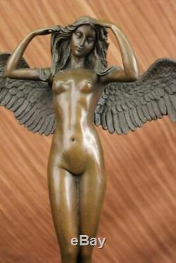 Artisanal Bronze Sculpture Marble Balance Weinman Signed By Angel Female Chair Figur