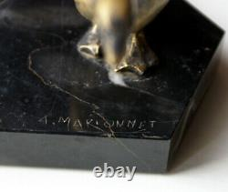 Ashtray Marble And Goose In Bronze Art Nouveau Signed A. Marionnet