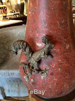 Austrian Marble Vase With Bronze Mounts A Squirrrel Schumacher Signed
