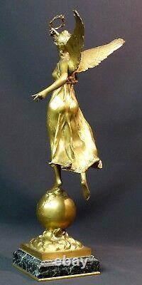 B 1910 Beautiful Gilded Bronze Sculpture P. Ducuing The Renowned 42c3.3kg Barbedienne
