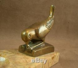 Beautiful Bird Sculpture Bronze Art Deco Signed On Base Marble Empty Pocket