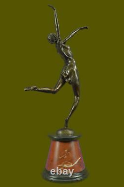 Beautiful Golden Bronze Sculpture On Marble Base Signed D H Chiparus 61cm Figur