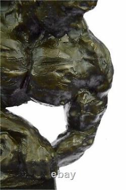 Bronze Abstract Muscular Modern Gift Chair Man Marble Sculpture Signed Art
