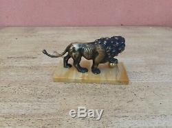 Bronze Animal Lion On Marble Base