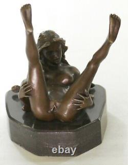 Bronze Art Deco Sculpture Nu Femme With / Marble Base- Signed Nino Oliviono