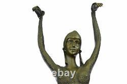 Bronze Art Deco Sea Dancer Dancer Figurative Woman Marble Sculpture Signed Chiparus
