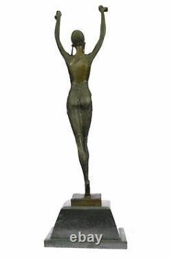 Bronze Art Deco Sea Dancer Woman Figurative Marble Sculpture Signed Chiparus