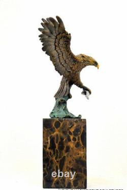 Bronze Bronze Figure Eagle Signed Baryeauf Base In Nachguss Marble