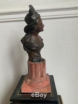 Bronze Bust And Marble XIX Eme Georges Van Der Straeten With Stamp From Foundry