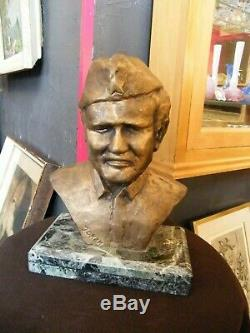 Bronze Bust Of Josip Broz Tito Yugoslavia 1892 1980 Marble Base Signed Jokan