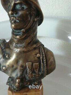 Bronze Bust On Hairy Marble 1st War Signed Octave Lelièvre 1869-1947