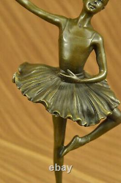 Bronze Cast - Marble Figure Ballerina Girl Signed Sculpture Gift Figure
