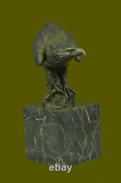 Bronze Eagle Catch Signed Bronze Sculpture With Marble Base Miguel Lopez Sale