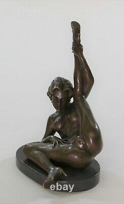 Bronze Erotic Sculpture Chair Art Sex Statue Signed Deco Marble Figure