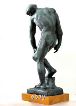 Bronze Figure Adam With Signature Signed Rodin On Base In Marble 6.8 KG