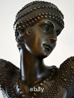 Bronze Figure Dancer Signed Chiparus On Marble Base With Signature