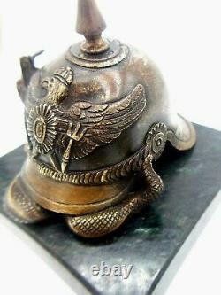 Bronze Geo Guesnet Sculptor Aigle / Serpent Helmet At Pointe Germany Ww1