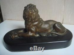 Bronze Lion 16 CM X 7 CM Medium Marble Signed Barye