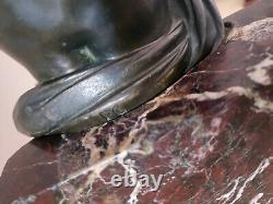 Bronze On Red Marble Turquin Child Cherubin XIX Signed Monogram P. G